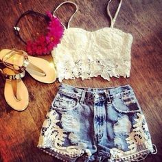 high waisted shorts with white lace shirt