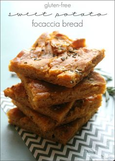 Gluten Free Sweet Potato Focaccia Bread a savory bread topped with sea salt and fresh rosemary.