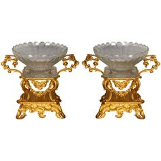 Elegant Pair of Baccarat Crystal Cups  