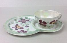 Beautiful Vintage Noritake Lusterware Japan Butterfly Snack Plate & Cup Set #noritake