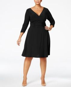 NY Collection Plus Size Ruched A-Line Dress | macys.com
