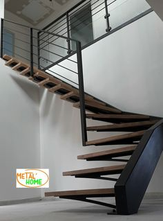 34 ideas floating stairs metal loft for 2019 Interior Stair Railing, Modern Stair Railing, Staircase Handrail, Stair Railing Design, House Staircase, Iron Staircase, Metal Stairs, Concrete Stairs, Exterior Stairs