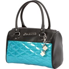 Lux De Ville Mini Atomic Tote Matte Black and Villain Blue Sparkle (100 CAD) ❤ liked on Polyvore featuring bags, handbags, tote bags, blue totes, mini handbags, mini purse, mini tote handbag and handbags tote bags