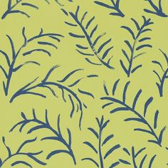 leaf wallpaper in linden/cobalt from sanderson. bloomsbury collection.