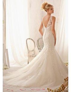 Simply Sublime Trumpet/Mermaid Scalloped-Edge Floor-length/Chapel Train Wedding Dress – USD $ 299.99