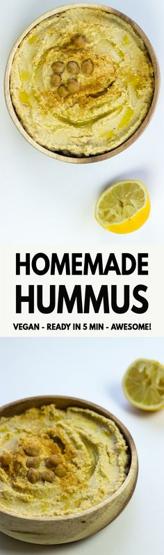 How To Make Homemade Hummus - a delicious and filling five minute version of the classic dish - makes a fantastic snack and dip! | hurrythefoodup.com