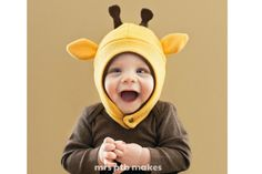 Adorable winter hats for kids in giraffes, bunnies, and dinosaurs by Mrs PTB on Etsy