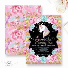 Unicornio Floral cumpleaños invitación invitación de