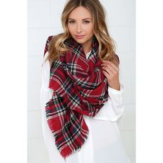 Scots Honor Red Plaid Scarf featuring polyvore, women's fashion, accessories, scarves, red, woven scarves, plaid blanket scarf, oversized scarves, red blanket scarf and tartan scarves