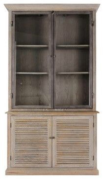 Brownstone Furniture Luxembourg Bookcase farmhouse-bookcases solid white oak finished in a lightly cerused fog gray