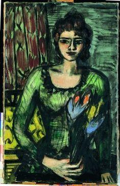 "Artist: Max Beckmann ""Quappi in Green Jumper"" Max Beckmann, Emil Nolde, Antoine Bourdelle, Carl Friedrich, Art Eras, Illustrator, Expressionist Artists, Art Abstrait, Gravure"