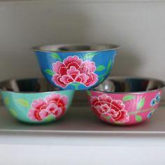 Colourful enamelware Franjipani Bowl