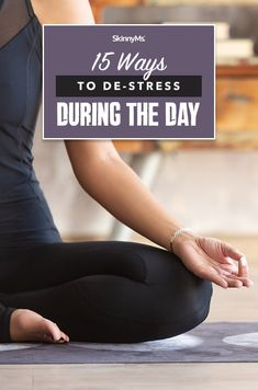 Too much stress alters mood, triggers emotional eating, and hurts health but these 15 ways to de-stress during the day can help! Healthy Lifestyle Changes, Healthy Lifestyle Motivation, Best Workout Plan, Workout Challenge, Too Much Stress, Slim Waist Workout, Skinny Ms, During The Day, Holistic Wellness