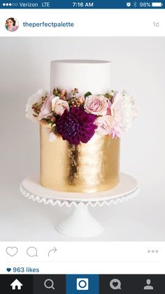 Plum and gold cake