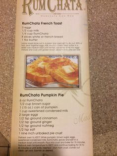 Rum Chata French toast and pumpkin pie recipes