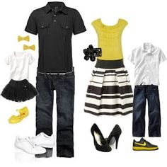 For a little more dressed up...  Black and White with pops of yellow