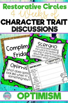 onduct restorative and community circles in your classroom with these ready to use templates that are full of questions, discussion topics and ideas that can be used during circle time. This product stems around the character trait of optimism and includes discussion questions, scenarios and/or act it out activities. Click the link below to have your students listening, discussing and learning from each other! #restorativecircles #charactertraits #circletime #charactereducation