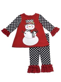 Rare Editions Baby Girl Holiday Christmas Snowman Set (12 months)