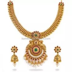 Buy Necklaces Online   Kanti Carved With CZ Pachi Pendant from Kameswari Jewellers Pearl Necklace Designs, Antique Necklace, Necklace Set, Gold Jewelry Simple, Necklace Online, Antara, Jewels, Jewerly, Gemstones