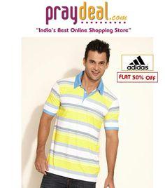 Adidas Yellow Striped Polo T Shirt - www.praydeal.com