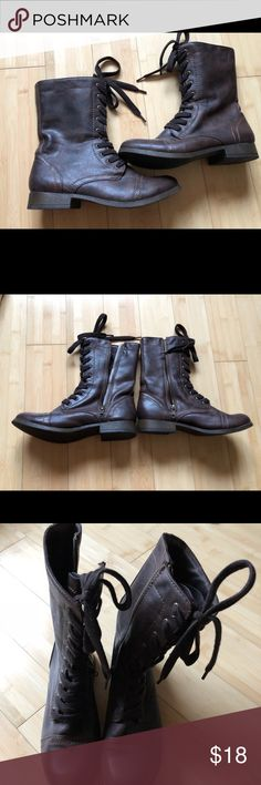 Brown Combat Boots EUC Just what you need this season! These boots go great with leggings or skinny jeans! EUC. Only worn once. Originally from Target. Shoes