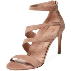 Jean-Michel Cazabat Women's Omera Suede Sandal - Pink - Size 38 ($299) ❤ liked on Polyvore featuring shoes, sandals, pink, pink high heel shoes, pink suede shoes, pink high heel sandals, pink heel sandals and suede platform sandals