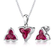 Ultimate Delight: 10.50 carat Tri Flower Cut Ruby Pendant Earring Set in Sterling Silver Rhodium Nickel Finish