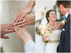 Bride's hand, mother-of-the-bride's hand, and both of the bride's grandmother's hands with wedding rings.