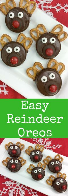 Easy Chocolate Covered Oreo Rudolph the Red Nosed Reindeer Recipe #holidays #holidayrecipes #EasyRecipes #oreorecipe