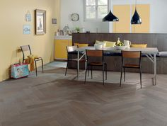 I like the floor and the idea of a bench/work station on the other side Parquet Chevrons, French Oak, Decoration, Dining Table, House, Inspiration, Furniture, Wood Flooring, Home Decor