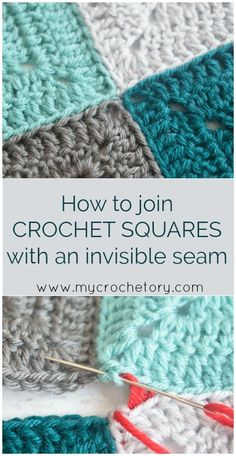 Mattress Stitch Join Tutorial- How To Make Crochet Motifs And Squares With An Uns . Mattress Stitch Join Tutorial- How to connect crochet motifs and squares with an invisible seam. Granny Square Crochet Pattern, Crochet Stitches Patterns, Crochet Afghans, Knitting Patterns, Easy Knitting, Joining Crochet Squares, Connecting Granny Squares, Start Knitting, Crochet Blocks