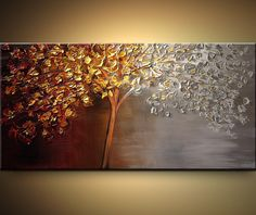 ORIGINAL Large Abstract Contemporary Gold Silver by OsnatFineArt, $385.00