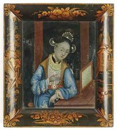 A CHINESE REVERSE GLASS PAINTING  19TH CENTURYhttp://www.christies.com/  (and here I am admiring the frame)