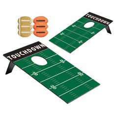 Football-themed bean bag toss game. Includes two boards and six bean bags.   Product: 2 Boards and 6 bean bags   Construc...