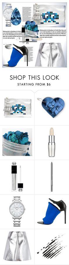 """Metallic Skirt"" by dragananovcic ❤ liked on Polyvore featuring Anya Hindmarch, Shiseido, Christian Dior, LORAC, Baume & Mercier, Balenciaga and MSGM"