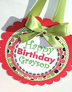 Watermelon 1 in a Melon Red Green Gingham Summertime summer  Birthday Party  Door Sign. $11.00, via Etsy.