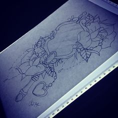 Hand mirror and roses design hopefully for Thirsday all being well. #tattoo #tattoos #tattoo_idea #tattoo_design #rose #rosetattoo #sketch #art #drawing #tattoo_sketch #heart #mirror #hand_mirror...
