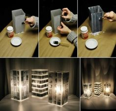 How to DIY Unique Lamp Shade Using Old Photo Negatives. This amazing photo collections about How to DIY Unique Lamp Shade Using Old Photo Negatives is. Lampe Photo, Photo Lamp, Diy Photo, Home Crafts, Diy Crafts, Photo Negative, Rustic Lamp Shades, Photo Deco, Wooden Lamp