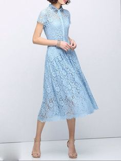 Beaded Lace Cotton-blend Midi Dress Blue lace dress