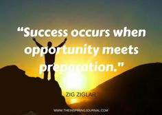 zig ziglar quote - Success occurs when opportunity meets preparation. – Zig Ziglar