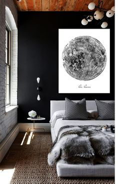 "Large Vintage La Lune Moon Poster PRINTABLE FILE 20""x30"" - Vintage luna print, Moon art, Bedroom decor, Dorm Room art, Oversized art"