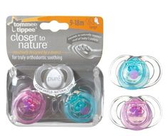 Tommee Tippee Closer to Nature 2-Pack Pure Soothers 3-9m Blue Design