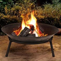 Cast Iron Fire Bowl Firepit Garden Outdoor Basket Modern Stylish Fire Pit
