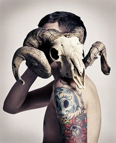 I see you're pretty gangster... I'm pretty gangster myself. Art Of Man, Tattoo Photography, Tumblr Photography, Skull Art, Ram Skull, Film Inspiration, Portrait Inspiration, Body Art, Art Tattoos