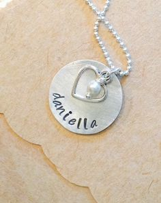 Name Necklace with pearl and Heart Charm by UniquelyImprint