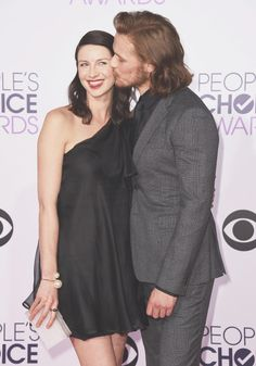 """caitrionabafle: """""""" Sam Heughan & Caitriona Balfe attend the 41st Annual People's Choice Awards at Nokia Theatre L.A. on January 7, 2015. """" """""""