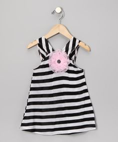 Black Stripe Rosette Dress - Infant & Toddler