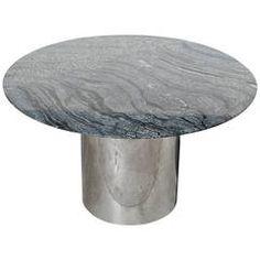 Knoll Table Drum Base with Black Kenya Marble Top