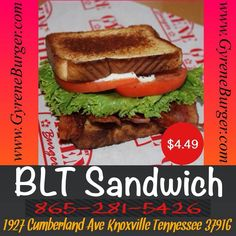 BLT Sandwich Fresh crispy Texas-smoked bacon, crispy lettuce, Florida-grown tomato and creamy mayo on buttered Texas toast. ************************************************* Order Online Now ➡️  www.GyreneBurger.com  #burger #knoxville #burgers #fortsanders #tennessee #cumberland#Gyrene #LocalKnoxvilleEvent #knoxvillebestburger #gyreneburgerkx #gyreneburger #burgerrestaurant #knoxvilleburgerrestaurant #knoxvilleburger #universityoftennessee #usadiving #ut#dominospizza #tommonaghan…