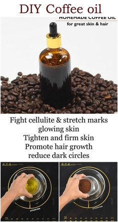 DIY Coffee oil for glowing skin and shiny hair Hair Care Homemade Skin Care, Diy Skin Care, Skin Care Tips, Homemade Beauty, Skin Tips, Belleza Diy, Tips Belleza, Beauty Care, Beauty Skin